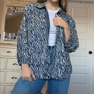 Vintage Zebra Print Lightweight Denim Jacket